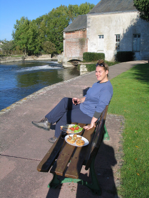Lunch outside the gite, Chateaudun