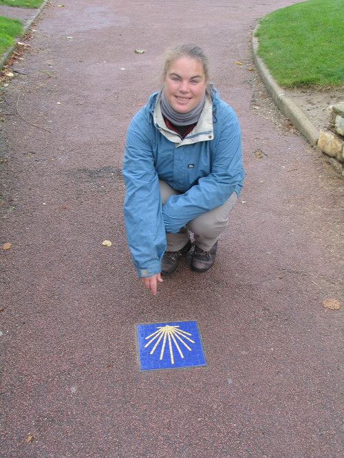 Paula with the first waymark