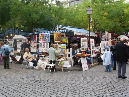 The hub of the Place de Tertre, Montmartre