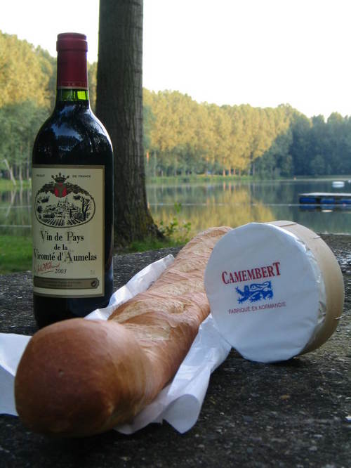 Wine, cheese, baguette, sunset, lake.  Ah.